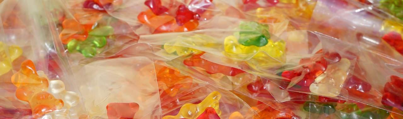 gummy bears in individual packaging